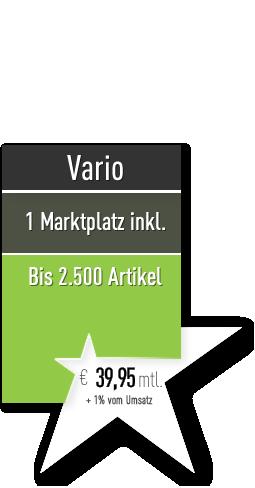 Starsellersworld Vario Tarif. Ab 39,- mtl. Zzgl. 1% v. Umsatz. 1 Marktplatz, bis 2500 Artikel